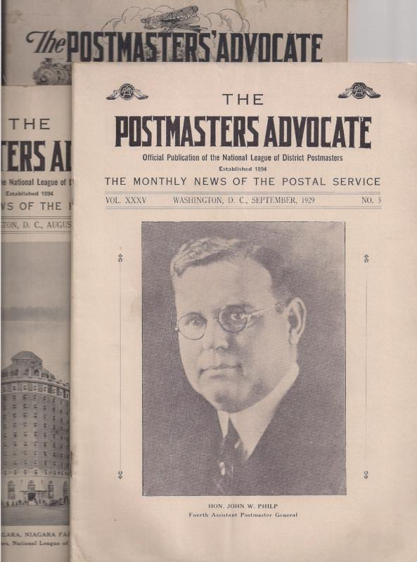 Postmasters Advocate: Three issues for Niagara Falls Postmaster convention 1929