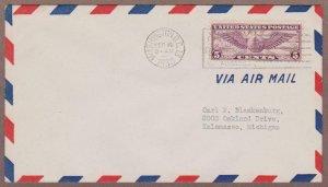 US # C12 Winged Globe PO Airmail Envelope FDC - I Combine S/H