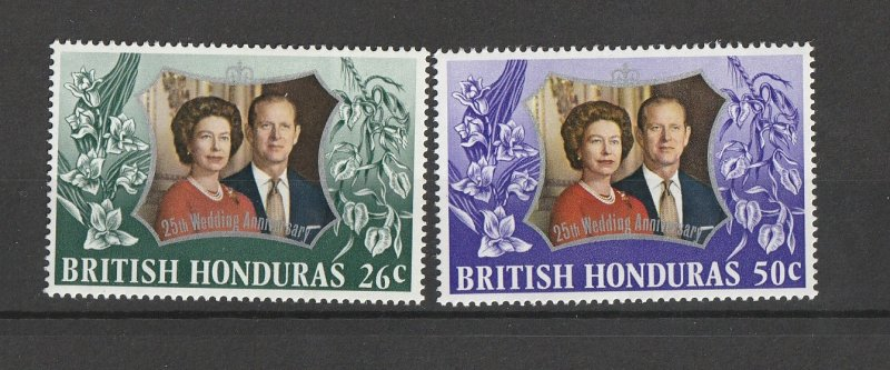 British Honduras MNH 3306-7 25th Wedding Anniversary QE II