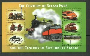QC300 SIERRA LEONE TRAINS CENTURY OF STEAM ENDS & ELECTRICITY STARTS 1KB FIX