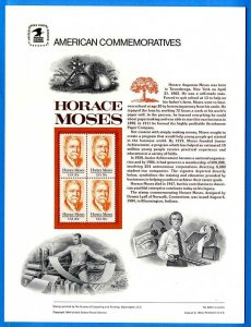 USPS COMMEMORATIVE PANEL #225 HORACE MOSES #2095