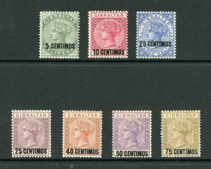Gibraltar SG15/21 1889 Overprint set Very Fresh M/M (40c no gum) Cat 200 pounds
