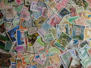 Paraguay scrap pile (duplicates, mixed cond) estimate 350 stamps