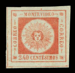 URUGUAY  1859  SUN  240c vermilion  - Pos. 10 -  Sc# 12 mint MH  VF+ stamp