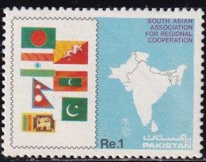 Pakistan, Sc 660, MNH, 1985, Flag & Map of SAARC Countries, AA02039