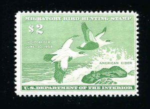 #RW24 American Eiders 1957 US Federal Duck Stamp Mint Never Hinged