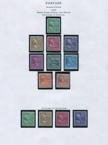 1939 US Postage Stamps #839-851 Mint Very Fine Glazed Gum Presidential Issue Set