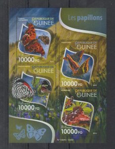 Guinea MNH S/S Butterflies 2015 4 Stamps