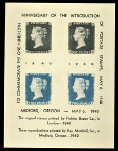 1940 Commemorate 100 Anniversary of Postage Stamps Key Marshall Medford Oregon