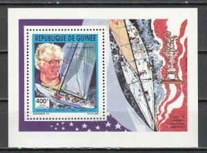 Guinea, Scott cat. 1210. Bill Kuch, America 3, Yachting value as a s/sheet.