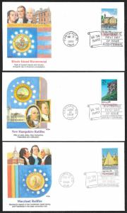 UNITED STATES FDCs 22¢/25¢ 13 Colony Statehood 1987/1990 Fleetwood MATCHED SET