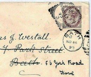 GB SQUARED CIRCLES *Chiswick* 1893 Cover Forwarded BATH Duplex {samwells}CS342