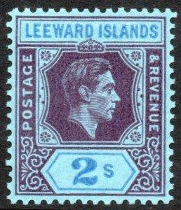 LEEWARD ISLANDS-1947 2/- Deep Purple & Blue/Blue Sg 111ab LMM V41873