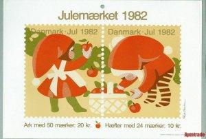Denmark. Christmas Seal.1982. 1 Post Office,Display,Advertising Sign.Santa,Apple