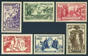 Malagasy 191-196,197,MNH.Mi 240-245,246 Bl.1. Colonial Art Exhibition 1937.