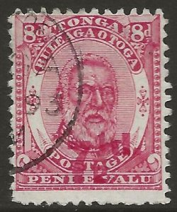 Tonga 1893 King George Surch. 7½d/8d Rose #20 Fine Used CV $85.00
