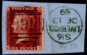 SG41, 1d dp rose-red PLATE 52, LC14, FINE USED. Cat £20. ON PIECE. QC