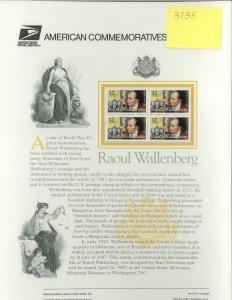 USPS COMMEMORATIVE PANEL #510 RAOUL WALLENBERG #3135