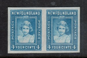 Newfoundland #247a Extra Fine Mint Imperf Pair No Gum As Issued