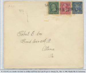 GUAM #1,2,5 ON COVER DOUBLE RATE LETTER MARCH 8,1900 CV $600 BS8457 HS108G