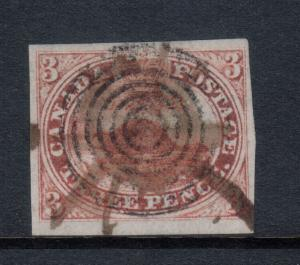 Canada #1a Very Fine Used With Target & Manuscript Cancels **With Certificate**