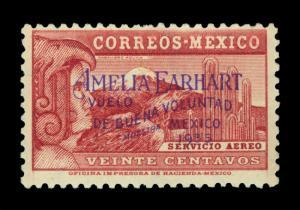 MEXICO 1935 AIRMAIL - Amelia Earhart Flight  20c lake MUESTRA Sc# C74s mint LH