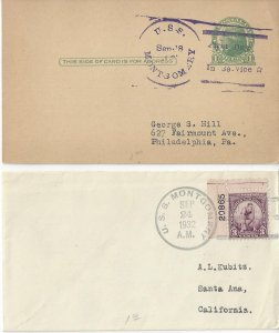 US Naval Cover USS Montgomery DD 121  1931, 1932