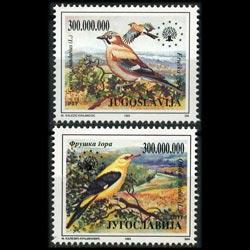 YUGOSLAVIA 1993 - Scott# 2219-20 Birds Set of 2 NH