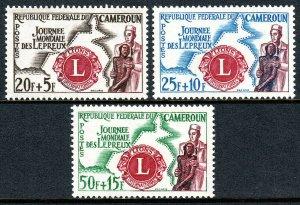 Cameroun B33-B35, MNH. Lions Emblem, Map, Physician helping leper, 1962