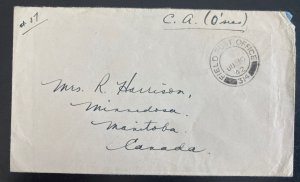 1942 Canadian Army Overseas Field Post 314 Cover To Manitoba Canada