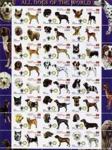 Timor (East) 2000 Dogs #03 perf sheetlet containing 24 va...