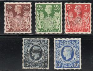 Great Britain Sc 249-251A 1939-42 G VI high value stamps used