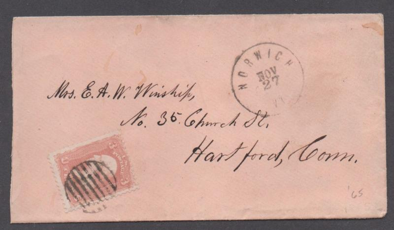 **US 19th Cent Cover SC# 65, Norwich, VT, 11/27 CDS, Nice Grid Cxl, Pink Cover