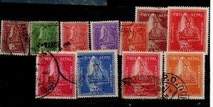Nepal 90-92 Used,  93 Mint Hinged, 94-95 Used, 96 Mint Hinged & 97-100 Used