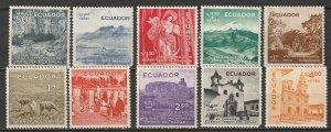 Ecuador 1956 Sc C288-97 air post set most MLH*