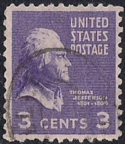 807 3 Cent Thomas Jefferson Stamp Used VF