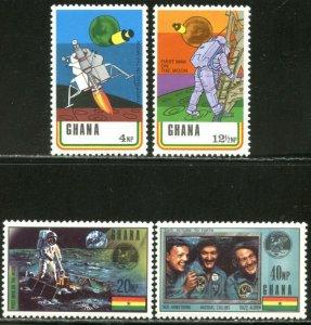 GHANA Sc#386-389 1970 Apollo 11 Moon-Landing Complete Set OG Mint L