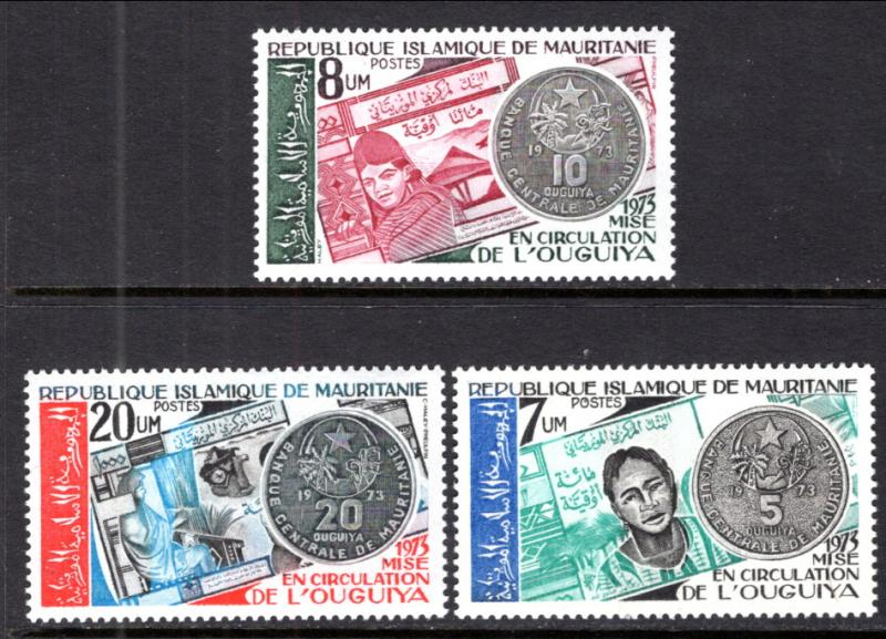 Mauritania 318-320 Coins on Stamps MNH VF