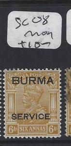 BURMA (P0204B) KGV OVPT ON INDIA  6P SERVICE   SG 08   MOG