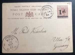 1894 Turks Island Postal Stationary Postcard Cover To Ulm Germany