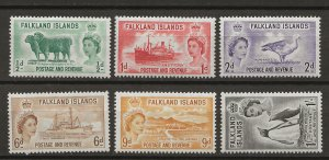 Falkland Is SG 187-192 MNH/MHR VF 1955-57 SGCV £40.00* (jr)