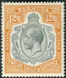 BERMUDA-1932 12/6 Grey & Orange.  A mounted mint example Sg 93