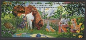 AUSTRALIA SGMS1651 1996 AUSTRALIAN PETS O/P QUEENSLAND STAMP SHOW MNH