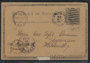 COLOMBIA(PP2706B) 1897 2C PSC  TO GERMANY
