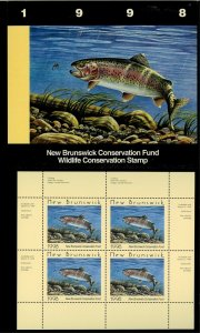 NEW BRUNSWICK #5M 1998 TROUT CONSERVATION STAMP MINI SHEET OF 4 IN FOLDER