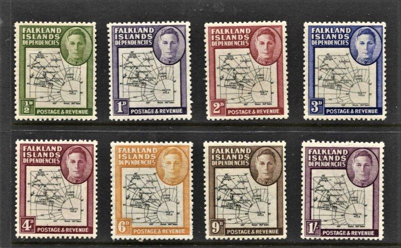 STAMP STATION PERTH -Falkland Is.Dep.#1L1-1L8-MNH Full Set OG VF Thick Maps