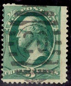 US Stamp #184 3c Green Washington Used SCV $1.00. 20 Numeral Cancel