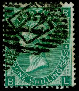 SG101b, 1s green plate 4, USED. Cat £380. WMK EMBLEMS. THICK PAPER. DP GREEN. BL