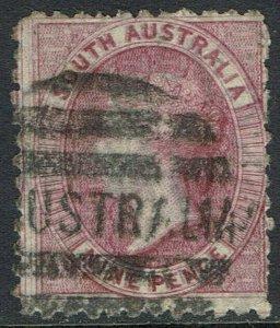 SOUTH AUSTRALIA 1876 QV 9D VARIETY DOUBLE PRINT WMK STAR USED