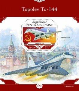 Z08 IMPERF CA190515b CENTRAL AFRICA 2019 Tupolev Tu-144 MNH ** Postfrisch